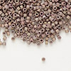 Seed bead, Delica®, glass, opaque matte metallic luster rainbow rose, (DB1061), #11 round. Sold per pkg of 50 grams.