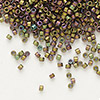 Seed bead, Delica®, glass, opaque matte metallic luster rainbow rose green, (DB1055), #11 round. Sold per pkg of 7.5 grams.
