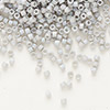 Seed bead, Delica®, glass, opaque matte rainbow pale grey, (DB1528), #11 round. Sold per pkg of 50 grams.