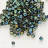 Seed bead, Delica®, glass, opaque metallic iris dark green, (DBL27), #8 round, 1.5mm hole. Sold per pkg of 7.5 grams.