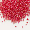 Seed bead, Delica®, glass, opaque rainbow dark red, (DB162), #11 round. Sold per pkg of 7.5 grams.