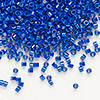 Seed bead, Delica®, glass, opaque rainbow royal blue, (DB216), #11 round. Sold per pkg of 7.5 grams.