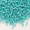 Seed bead, Delica®, glass, opaque rainbow turquoise green, (DB166), #11 round. Sold per pkg of 7.5 grams.