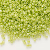 Seed bead, Delica®, glass, opaque rainbow yellow/green, (DB169), #11 round. Sold per pkg of 50 grams.