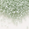 Seed bead, Delica®, glass, silk medium green, (DB829), #11 round. Sold per pkg of 7.5 grams.