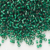 Seed bead, Delica®, glass, silver-lined emerald green, (DB605), #11 round. Sold per 7.5-gram pkg.