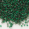 Seed bead, Delica®, glass, silver-lined forest green, (DB148), #11 round. Sold per pkg of 7.5 grams.