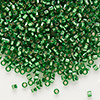 Seed bead, Delica®, glass, silver-lined green, (DB46), #11 round. Sold per pkg of 50 grams.