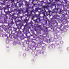 Seed bead, Delica®, glass, silver-lined lilac, (DB1343), #11 round. Sold per 7.5-gram pkg.