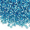 Seed bead, Delica®, glass, silver-lined transparent aqua blue, (DBL44), #8 round, 1.5mm hole. Sold per 7.5-gram pkg.