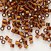 Seed bead, Delica®, glass, silver-lined transparent dark topaz brown, (DBL144), #8 round, 1.5mm hole. Sold per pkg of 7.5 grams.