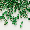 Seed bead, Delica®, glass, silver-lined transparent green, (DBL46), #8 round, 1.5mm hole. Sold per pkg of 50 grams.