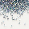 Seed bead, Delica®, glass, transparent luster rainbow light grey, (DB111), #11 round. Sold per pkg of 7.5 grams.
