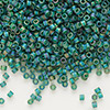 Seed bead, Delica®, glass, transparent matte rainbow emerald green, (DB859), #11 round. Sold per pkg of 50 grams.