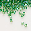 Seed bead, Delica®, glass, transparent rainbow lemon lime, (DB152), #11 round. Sold per pkg of 50 grams.