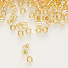 Seed bead, Delica®, glass, transparent rainbow light topaz yellow, (DB100), #11 round. Sold per pkg of 7.5 grams.