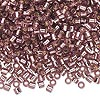Seed bead, Delica®, glass, transparent silver-lined smoky amethyst purple, (DBL146), #8 round, 1.5mm hole. Sold per pkg of 7.5 grams.