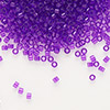 Seed bead, Delica®, glass, transparent violet, (DB1315), #11 round. Sold per 50-gram pkg.
