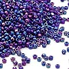 Seed bead, Dyna-Mites™, glass, dark blue, opaque rainbow, #11 round. Sold per 500-gram pkg.