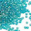 Seed bead, Dyna-Mites™, glass, frosted emerald green AB, #11 round. Sold per 40-gram pkg.