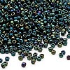 Seed bead, Dyna-Mites™, glass, iris green, #11 round. Sold per 1/2 kilogram pkg.