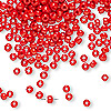 Seed bead, Dyna-Mites™, glass, opaque red, #8 round. Sold per 1/2 kilogram pkg.