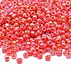 Seed bead, Dyna-Mites™, glass, rainbow opaque orange, #8 round. Sold per 1/2 kilogram pkg.