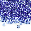 Seed bead, Dyna-Mites™, glass, silver-lined blue, #8 round. Sold per 1/2 kilogram pkg.
