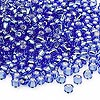 Seed bead, Dyna-Mites™, glass, silver-lined light blue, #6 round. Sold per 1/2 kilogram pkg.
