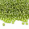 Seed bead, Dyna-Mites™, glass, silver-lined light green, #8 round. Sold per 1/2 kilogram pkg.