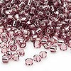 Seed bead, Dyna-Mites™, glass, silver-lined lilac, #8 round. Sold per 1/2 kilogram pkg.