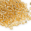 Seed bead, Dyna-Mites™, glass, silver-lined medium gold, #8 round. Sold per 40-gram pkg.