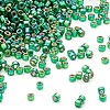 Seed bead, Dyna-Mites™, glass, silver-lined rainbow emerald green, #11 round with square hole. Sold per 1/2 kilogram pkg.