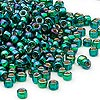 Seed bead, Dyna-Mites™, glass, silver-lined rainbow emerald green, #6 round with square hole. Sold per 1/2 kilogram pkg.