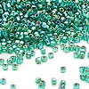 Seed bead, Dyna-Mites™, glass, silver-lined rainbow jade green, #11 round with square hole. Sold per 40-gram pkg.