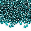 Seed bead, Dyna-Mites™, glass, silver-lined teal blue, #8 round. Sold per 1/2 kilogram pkg.