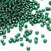 Seed bead, Dyna-Mites™, glass, silver-lined transparent dark green, #11 round. Sold per 40-gram pkg.