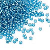 Seed bead, Dyna-Mites™, glass, silver-lined transparent turquoise blue, #11 round. Sold per 40-gram pkg.
