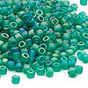 Seed bead, Dyna-Mites™, glass, transparent frosted rainbow jade green, #6 round. Sold per 40-gram pkg.