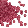 Seed bead, Dyna-Mites™, glass, transparent matte ruby red, #6 round. Sold per 1/2 kilogram pkg.