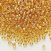 Seed bead, Dyna-Mites™, glass, transparent rainbow amber yellow, #8 round. Sold per 40-gram pkg.