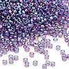 Seed bead, Dyna-Mites™, glass, transparent rainbow purple, #11 round. Sold per 1/2 kilogram pkg.