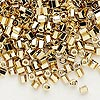 Seed bead, Dyna-Mites™, gold-finished glass, #6 round small hex. Sold per 40-gram pkg.