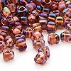 Seed bead, Miyuki, glass, amber yellow color-lined copper, (TR1838), #5 triangle. Sold per 250-gram pkg.