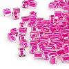 Seed bead, Miyuki, glass, clear color-lined fuchsia, (#SB209), 3.5-3.7mm square. Sold per 250-gram pkg.