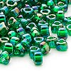 Seed bead, Miyuki, glass, iris green, (#1154), #5 triangle. Sold per 25-gram pkg.