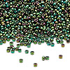 Seed bead, Miyuki, glass, metallic rainbow green, (#465), #15 rocaille. Sold per 250-gram pkg.