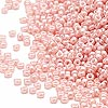 Seed bead, Miyuki, glass, opaque luster light pink, (#429), #15 rocaille. Sold per 250-gram pkg.