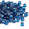 Seed bead, Miyuki, glass, silver-lined dark blue, (#SB149S), 3.5-3.7mm square. Sold per 250-gram pkg.