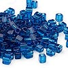 Seed bead, Miyuki, glass, transparent dark blue, (#SB149), 3.5-3.7mm square. Sold per 25-gram pkg.